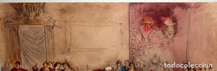 Arte: MAURICI VILOMARA I VIRGILI (Barcelona, 1847 – 1930) ACUARELA SOBRE PAPEL. PERE III EL CERIMONIÓS - Foto 9 - 102582403