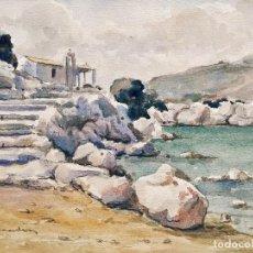Arte: MARAVILLOSA MARINA ORIGINAL EN ACUARELA, EXCELENTE CALIDAD, CIRCA 1920. FIRMA ILEGIBLE.. Lote 102589023
