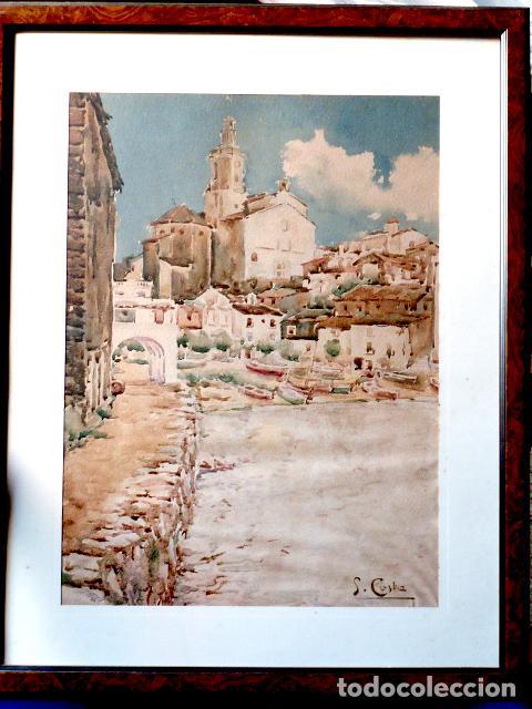 ACUARELA DE CADAQUÉS.SANTIAGO COSTA I VAQUÉ(MORA D'EBRE 1895-TORTOSA 1984) (Arte - Acuarelas - Contemporáneas siglo XX)