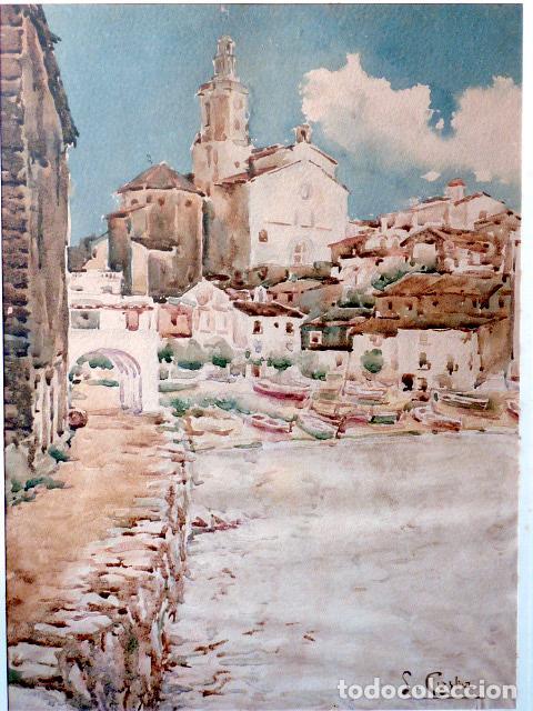 Arte: acuarela de Cadaqués.Santiago Costa i Vaqué(mora debre 1895-tortosa 1984) - Foto 2 - 102744379