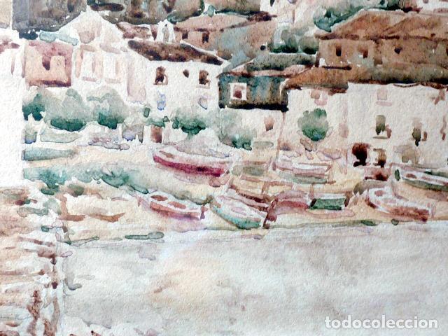 Arte: acuarela de Cadaqués.Santiago Costa i Vaqué(mora debre 1895-tortosa 1984) - Foto 5 - 102744379