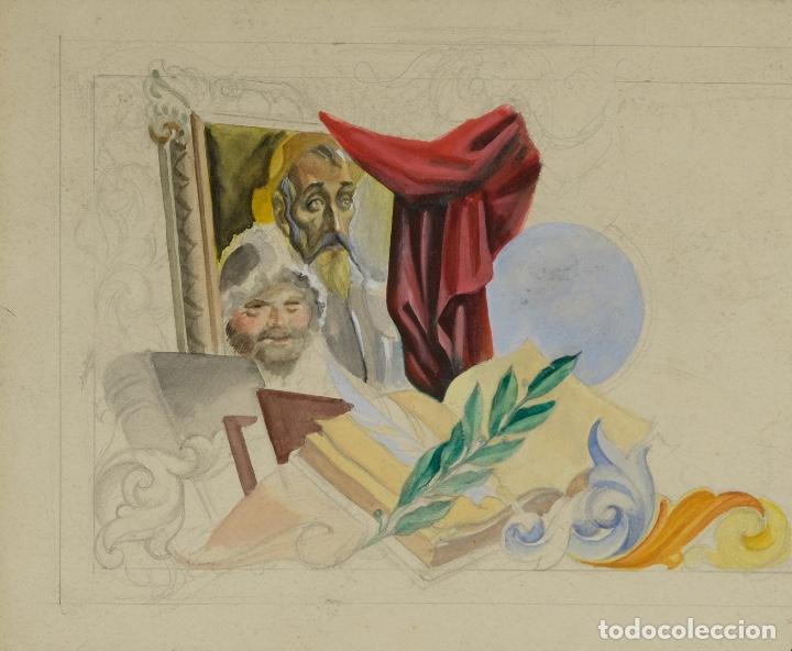 GOUACHE Y ACUARELA SOBRE PAPEL ALEGORÍA AL QUIJOTE MEDIADOS SIGLO XX (Arte - Acuarelas - Contemporáneas siglo XX)
