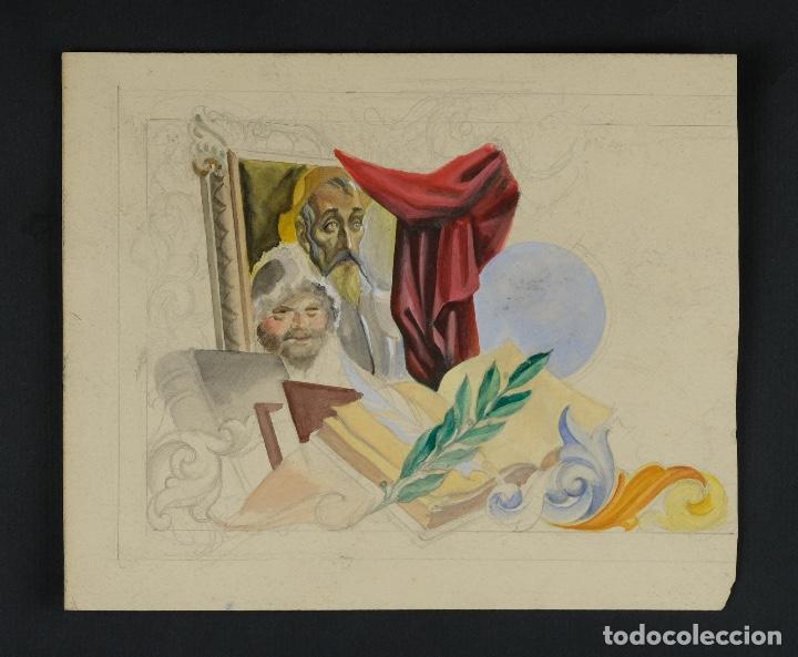 Arte: Gouache y acuarela sobre papel Alegoría al Quijote mediados siglo XX - Foto 2 - 103323311