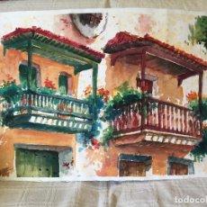 Arte: ACUARELA CON LOS BALCONES TÍPICOS DE TEROR, GRAN CANARIA. Lote 103681851