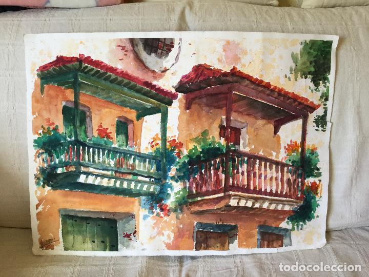 Arte: Acuarela con los balcones típicos de Teror, Gran Canaria - Foto 2 - 103681851