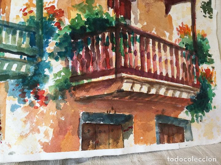 Arte: Acuarela con los balcones típicos de Teror, Gran Canaria - Foto 3 - 103681851