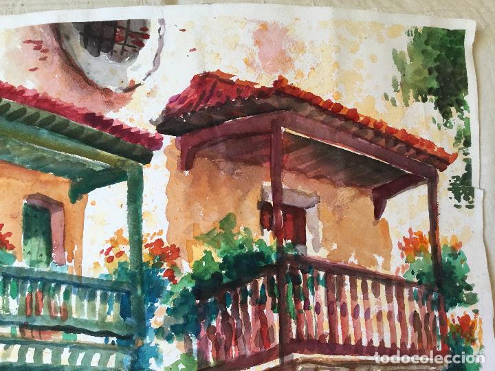 Arte: Acuarela con los balcones típicos de Teror, Gran Canaria - Foto 4 - 103681851