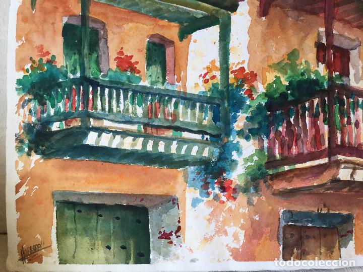 Arte: Acuarela con los balcones típicos de Teror, Gran Canaria - Foto 5 - 103681851
