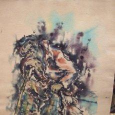 Arte: ACUARELA FIRMADA Y DEDICADA YOSEP JOSEP LOPAU -MENDIGO DESCANSANDO SENTADO CON PERRO - BUEN ESTADO. Lote 103770723