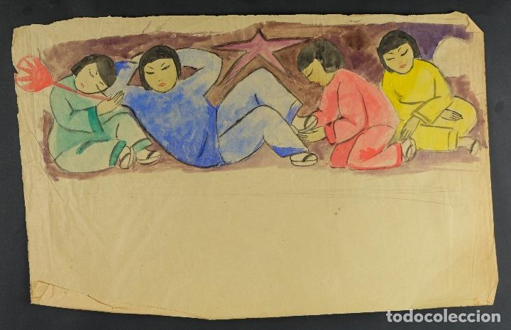 Arte: Gouache sobre papel Escena costumbrista oriental principios siglo XX - Foto 2 - 103776415