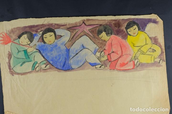 Arte: Gouache sobre papel Escena costumbrista oriental principios siglo XX - Foto 3 - 103776415