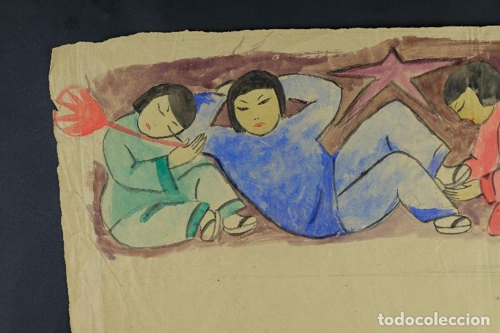 Arte: Gouache sobre papel Escena costumbrista oriental principios siglo XX - Foto 4 - 103776415