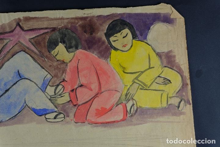 Arte: Gouache sobre papel Escena costumbrista oriental principios siglo XX - Foto 6 - 103776415