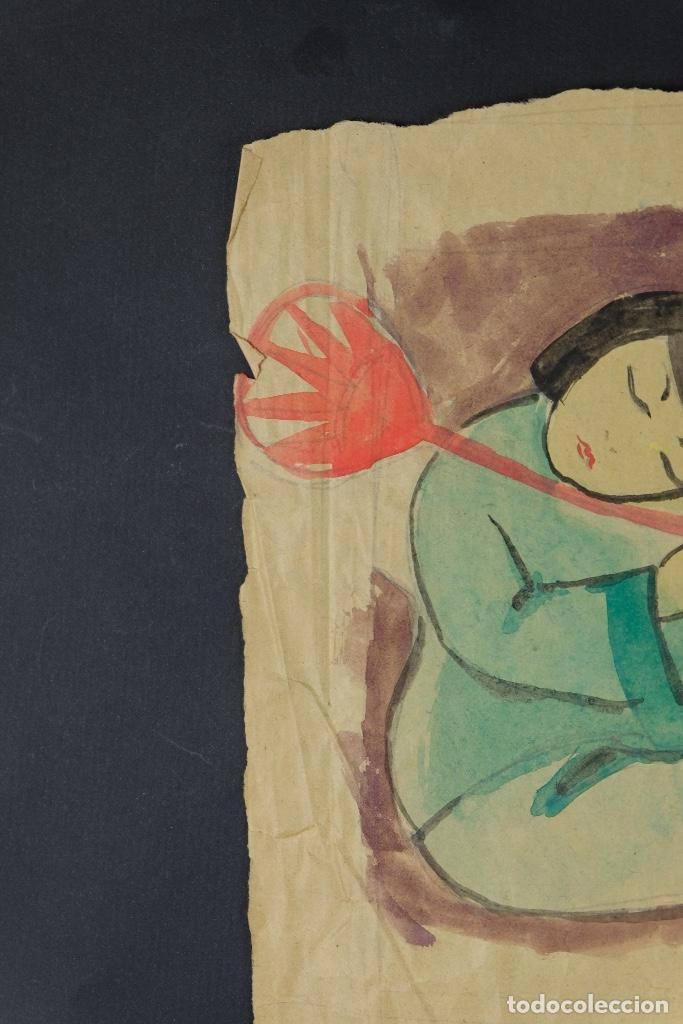 Arte: Gouache sobre papel Escena costumbrista oriental principios siglo XX - Foto 8 - 103776415