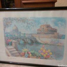 Arte: F. NERI ACUARELA 70X49 ROMA CASTEL SANT ANGELO. Lote 103777034