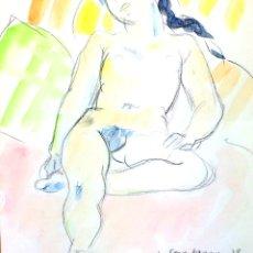 Arte: DESNUDO FEMENINO. ACUARELA SOBRE PAPEL. FIRMADO CREIXAMS (?). ESPAÑA. SIGLO XX. Lote 103944915