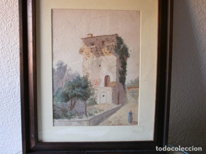 TORREÓN - GUILLERMO GÓMEZ GIL (1862 - 1942) - ACUARELA (Arte - Acuarelas - Contemporáneas siglo XX)