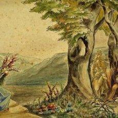 Arte: EL CANTO, LA MÚSICA Y LA DANZA. ACUARELA SOBRE CARTULINA. FIRMADO GORGUES. ESPAÑA 1964. Lote 104618971