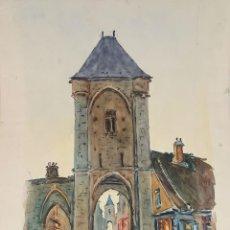 Arte: PÓRTICO DE PARÍS. ACUARELA SOBRE PAPEL. A. GUERIN. SIGLO XX. . Lote 104792727