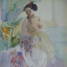 Arte: EMILIA CASTAÑEDA ROMANCE DE SENTIMIENTOS EROTIC LESBIAN WATERCOLOUR SIGNED ROMANCE OF FEELINGS. Lote 104876587
