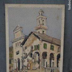 Arte: ESCENA DE PUEBLO, CASTELLÓN, FIRMA ILEGIBLE, 1935, ACUARELA. 25X34,5CM. Lote 104940987