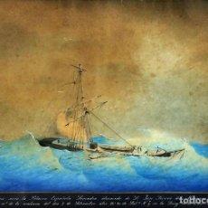 Arte: TEMPESTAD. LA POLACRA LEOCADIA. ACUARELA SOBRE PAPEL. ANÓNIMO. ESPAÑA. CIRCA 1839. Lote 104950039