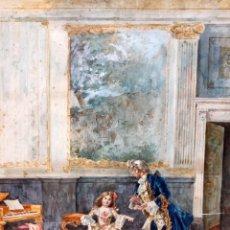 Arte: JOAQUIN PALLARES ALLUSTANTE (ZARAGOZA, 1853 - 1935) ACUARELA SOBRE PAPEL FIRMADA. ESNENA GALANTE. Lote 105011467