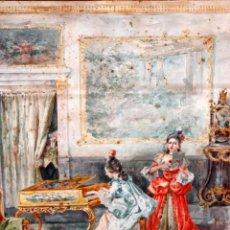 Arte: JOAQUIN PALLARES ALLUSTANTE (ZARAGOZA, 1853 - 1935) ACUARELA SOBRE PAPEL FIRMADA. ALEGORIA AL CANTE. Lote 105011803