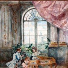 Arte: JOAQUIN PALLARES ALLUSTANTE (ZARAGOZA, 1853 - 1935) ACUARELA SOBRE PAPEL FIRMADA. ALEGORIA AL CANTE. Lote 105012431