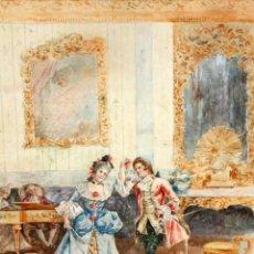 Arte: JOAQUIN PALLARES ALLUSTANTE (ZARAGOZA, 1853 - 1935) ACUARELA SOBRE PAPEL FIRMADA. ALEGORIA AL CANTE. Lote 105012595