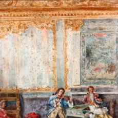 Arte: JOAQUIN PALLARES ALLUSTANTE (ZARAGOZA, 1853 - 1935) ACUARELA SOBRE PAPEL FIRMADA. ALEGORIA AL CANTE. Lote 105012755