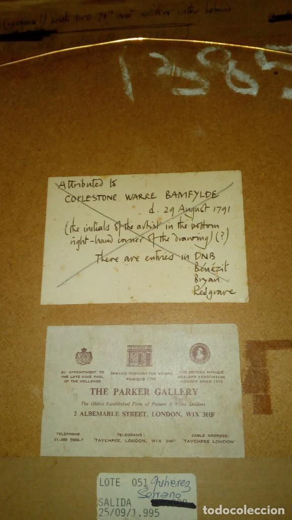 Arte: ESCUELA INGLESA S.XVIII.ATRIBUIDA A COPLESTONE WARRE BAMFYLDE.FECHADA Y FIRMADA. - Foto 6 - 105013043