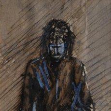 Arte: GOUACHE Y TINTA SOBRE HOMBRE CON LIBROS FIRMADO MARYSE RAIN TERCER TERCIO SIGLO XX. Lote 105452299