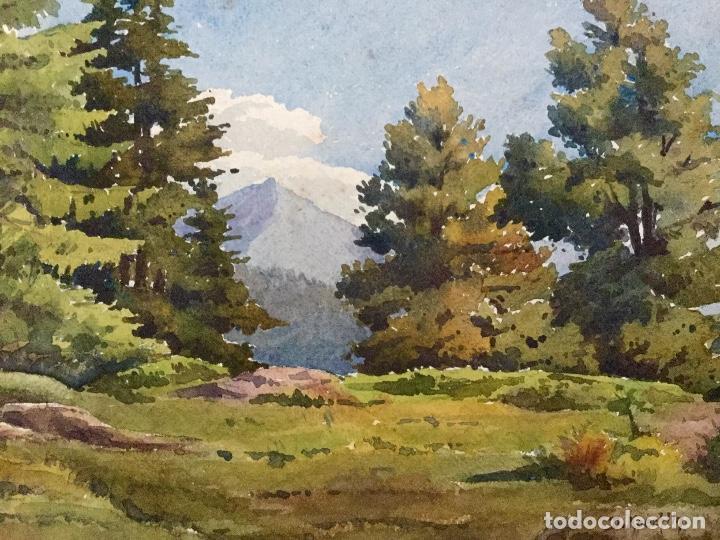 Arte: Acuarela con paisaje rural firmada por D. Koechlin y fechada en 1910 - Foto 2 - 105624435