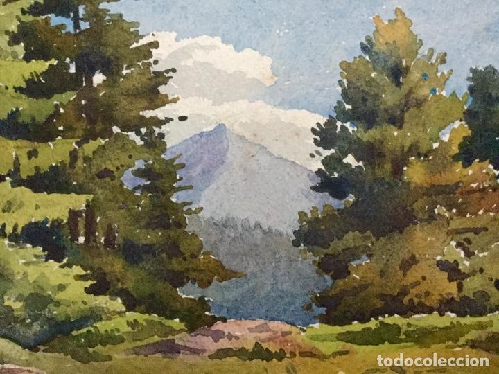 Arte: Acuarela con paisaje rural firmada por D. Koechlin y fechada en 1910 - Foto 3 - 105624435