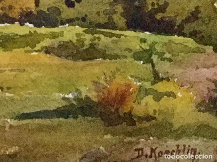 Arte: Acuarela con paisaje rural firmada por D. Koechlin y fechada en 1910 - Foto 5 - 105624435