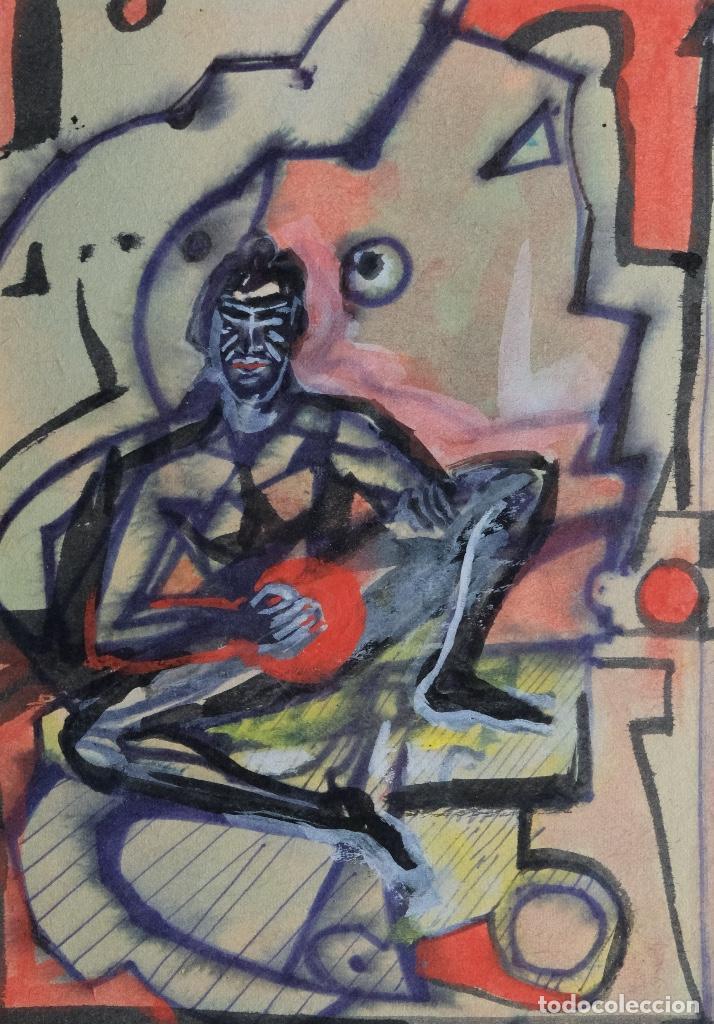ACUARELA Y GOUACHE SOBRE PAPEL FIGURA MASCULINA FIRMADA TERCER TERCIO SIGLO XX (Arte - Acuarelas - Contemporáneas siglo XX)
