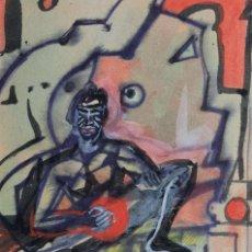 Arte: ACUARELA Y GOUACHE SOBRE PAPEL FIGURA MASCULINA FIRMADA TERCER TERCIO SIGLO XX. Lote 105647875