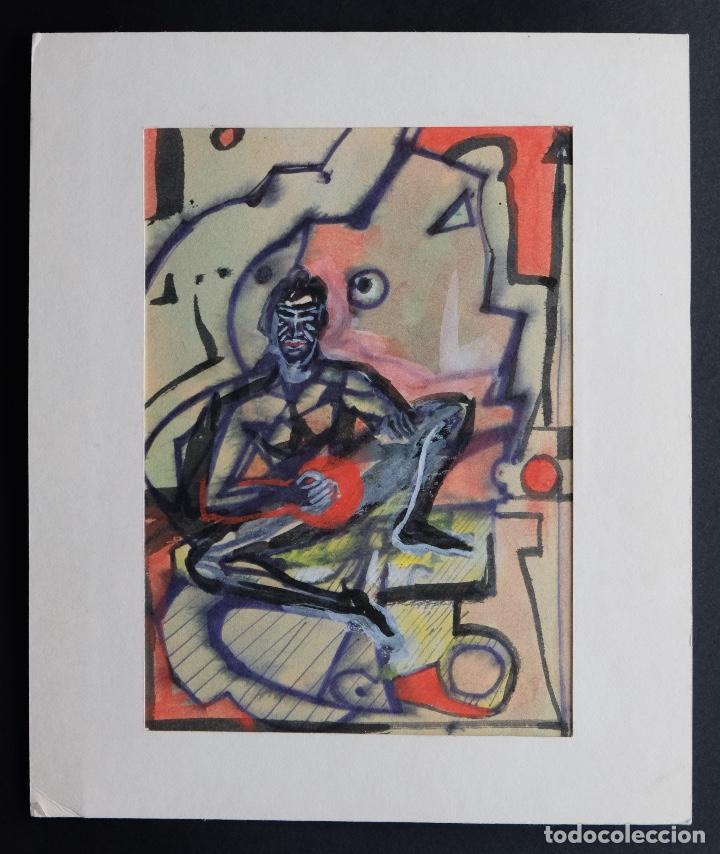 Arte: Acuarela y gouache sobre papel Figura masculina firmada tercer tercio siglo XX - Foto 2 - 105647875