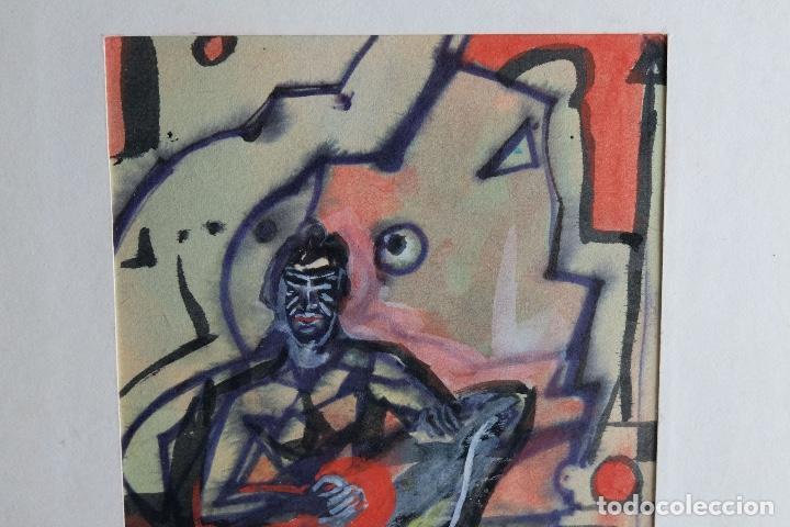 Arte: Acuarela y gouache sobre papel Figura masculina firmada tercer tercio siglo XX - Foto 3 - 105647875