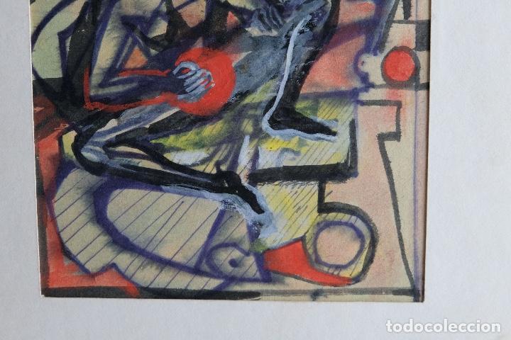 Arte: Acuarela y gouache sobre papel Figura masculina firmada tercer tercio siglo XX - Foto 4 - 105647875