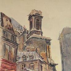 Arte: CALLE DE PARIS. ACUARELA SOBRE PAPEL. A. GURIN. 1943. . Lote 105793215