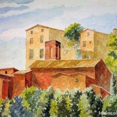 Arte: PUEBLO EN EL CAMPO. PINTURA. ACUARELA SOBRE PAPEL. ATRIB GORGUES. ESPAÑA. CIRCA 1950. Lote 105811543
