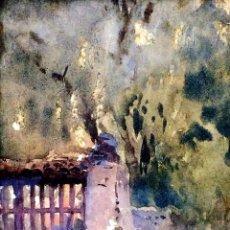 Arte: PORTAL DE JARDÍN. ACUARELA SOBRE PAPEL. ANONIMO. ESCUELA CATALANA. ESPAÑA. FIN XIX. Lote 105814767