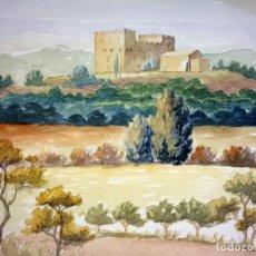 Arte: CASTILLO EN LA MONTAÑA. ACUARELA SOBRE PAPEL. ATRIB. GORGUES. ESPAÑA. CIRCA 1950. Lote 105898771