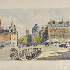 Arte: VISTA DE PARIS. ACUARELA SOBRE PAPEL. A. GUERIN. CIRCA 1940. . Lote 105966479