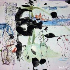 Arte: PLAYA DE SITGES. PINTURA. ACUARELA SOBRE PAPEL COUCHÉ. FIRMADO. ESPAÑA. 1996. Lote 106146795
