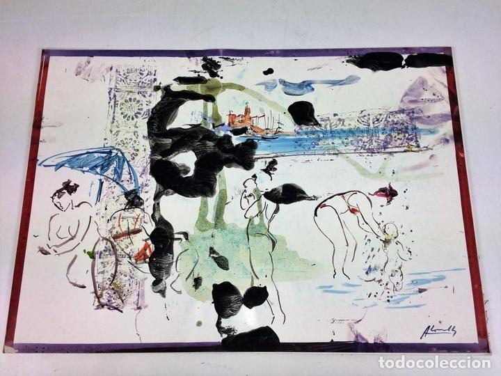 Arte: PLAYA DE SITGES. PINTURA. ACUARELA SOBRE PAPEL COUCHÉ. FIRMADO. ESPAÑA. 1996 - Foto 2 - 106146795