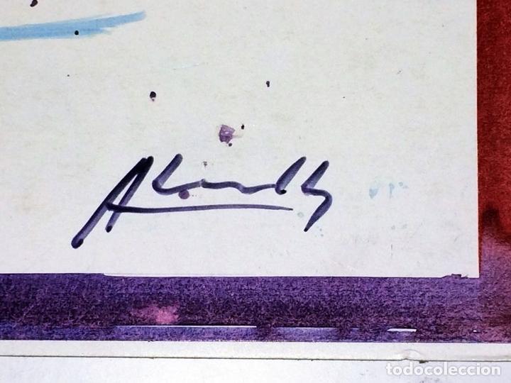 Arte: PLAYA DE SITGES. PINTURA. ACUARELA SOBRE PAPEL COUCHÉ. FIRMADO. ESPAÑA. 1996 - Foto 3 - 106146795
