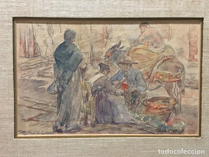 ACUARELA COSTUMBRISTA DE TOLEDO. PUESTO DEL MERCADO, 1903 (Arte - Acuarelas - Contemporáneas siglo XX)